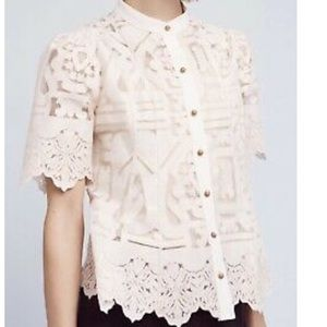 Lace button down top